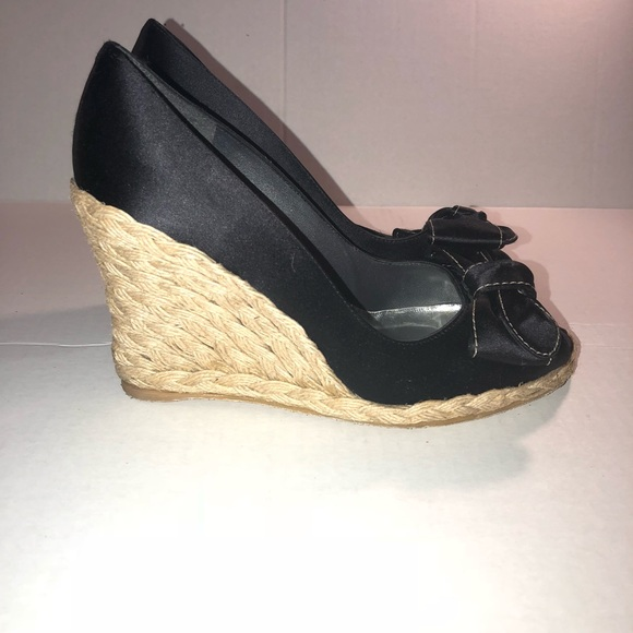 455dfc344186 Stuart Weitzman Shoes - Stuart Weitzman Black Wedges Espadrille Size 7.5 N